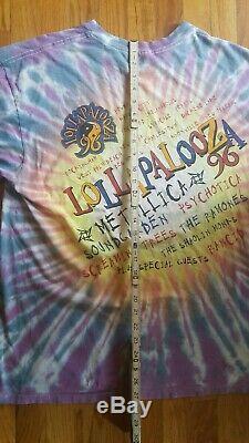 Vintage 1996 Lollapalooza Vintage Tie Dye Tour T-shirt Metallica Ramones Taille XL