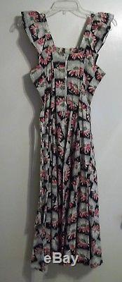 Vintage 40 Coton Floral Tie-back Robe Taille Large