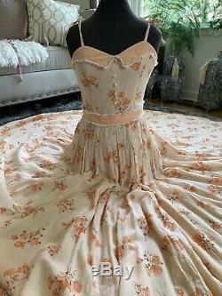 Vintage 70s Gunne Sax Style Jupe Évasée Prairie Maxi Dress Floral Boho