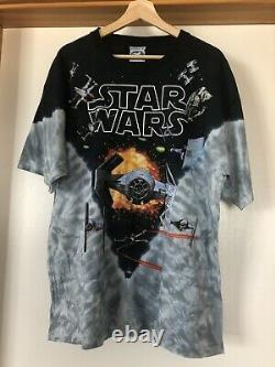 Vintage 90s Star Wars Tie Dye All Over Print Shirt Liquid Blue Darth Vader Sz XL
