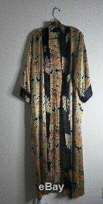 Vintage Christian Dior En Soie Robe Femmes Moyen Floral Kimono Long Petit