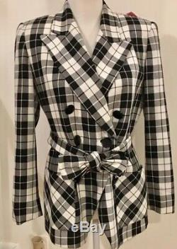 Vintage Christian Dior Noir Et Blanc À Carreaux Nouée À La Taille De Manteau De Veste Taille 4 Petit Xs