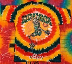 Vintage De Basket-ball Lituanie 1996 T-shirt Tie Dye Grateful Dead Liquid Blue XL