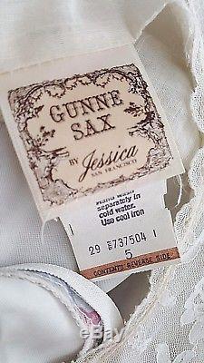 Vintage Des Années 70 Gunne Sax Paysanne Robe Taille Xsmall Mariage Boho Corset Cravate Hippie