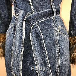 Vintage Devinez Manteau Denim Trench S Jean Veste En Fausse Fourrure Bleu Brown Tie-ceinture