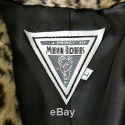 Vintage J Percy Pour Richards Marvin Léopard En Fausse Fourrure Femmes Long Coat Swing Grande