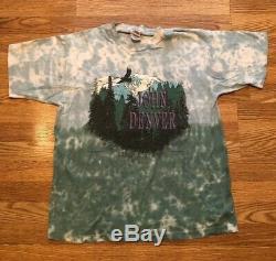 Vintage John Denver 1997 Tie Dye T-shirt Homme XL Aigle Sur Les Montagnes Couronnées De Neige