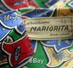 Vintage Mariorita Capri Imprimer Wrap Tie Blouse Années 50