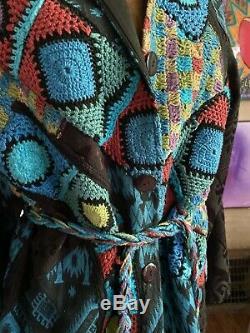 Vintage Sandy Taille XL Starkman Tapisserie Multicolore Et Manteau Crochet Boho Luxe