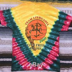 Vintage (grateful Dead) Équipe De Basket-ball Lituanie Tie Dye Rare! 2000 (nos)