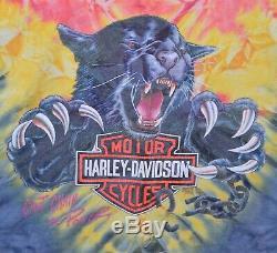 Vtg 1993 Harley-davidson 2xl Men Cant Chaîne Le T-shirt Panther Puissance Tie-dye