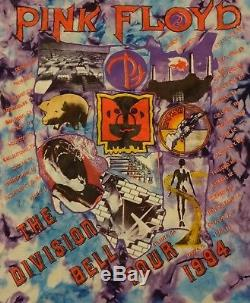 Vtg 90s 1994 Rose Floyd Division Tour De Concert Bell Tie Dye Animal T-shirt L