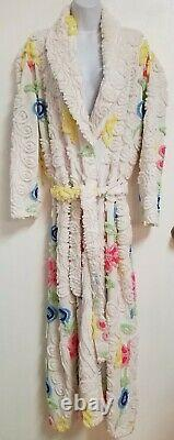 Vtg Canyon Group Beverly Hills Floral White Chenille Wedding Cake Robe Taille L