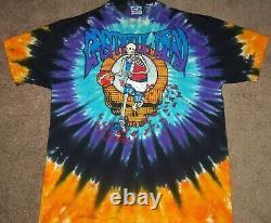 Vtg Reconnaissants De 1991 Boston Dead 90 Jardin Og Liquide Bleu Colorant Rock T-shirt Cravate XL