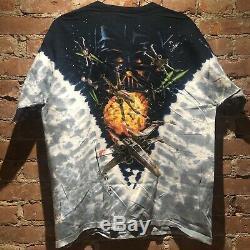 Wars Étoile Vintage Tie Dye All Over 1990 De Liquid Blue Print Shirt Darth Nwt Tag