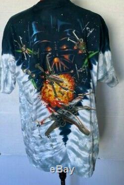 Wars Vintage T-shirt Étoile 1992 Liquid Blue Tie Dye Vaisseaux Bataille Taille XL Zz