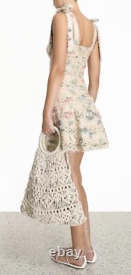 Zimmermann Kirra Tie Shoulder Mini Dress Us Taille 4-6 Orig. $889 T.n.-o.