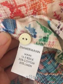 Zimmermann Nwt 1 / S Verano Tie Combishort Tapestry Sans Manches Combi-short En Soie Linge De Maison
